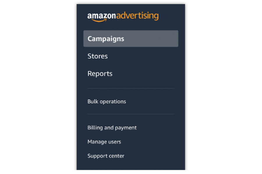 Amazon advertising console navigation